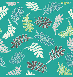 1950s style retro tropical leaves seamless vector