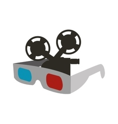 3d glasses cinema movie design vector
