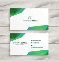 Abstract white business card with green shapes vector