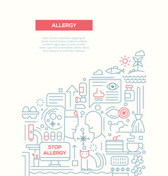 allergy - line design brochure poster template a4 vector image