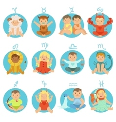 Babies In Twelve Zodiac Signs Costumes Sitting And vector