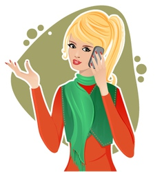 Beautiful woman with smartphone vector image