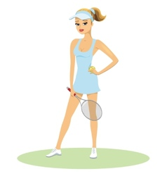 Beauty in tennis uniform with racquet vector