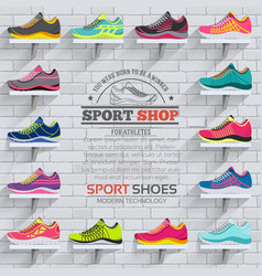 Big flat collection set of sneakers vector