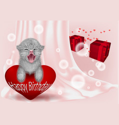 Birthday backgroun with funny cat vector