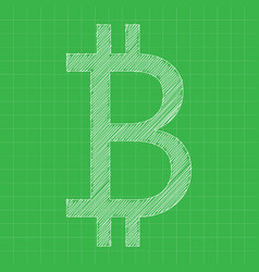 Bitcoin icon grey color blueprint background vector