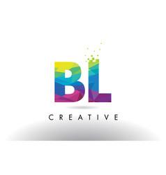 Bl b l colorful letter origami triangles design vector