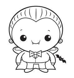 Black and white cartoon cute dracula mascot vector