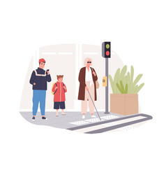 Blind person in glasses with cane stick crossing vector