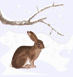 Bunny and snow with old branches christmas theme vector image