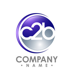 C2b word letter and numbering logo on an abstract vector