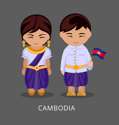 Cambodians in national dress with a flag vector