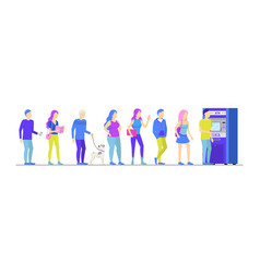 cartoon different characters people in atm queue vector image