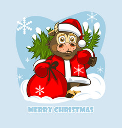 Cheerful baby bull in santa claus clothes vector