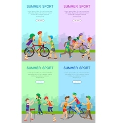 Children Going in for Sport Web Banner Poster Set vector image