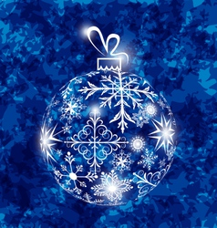 Christmas ball made in snowflakes on grunge vector
