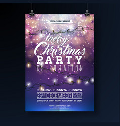 Christmas party flyer with lights vector