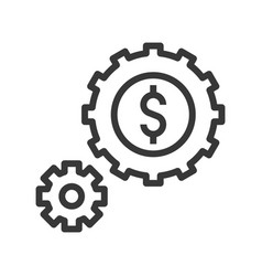 Cogwheel and coin passive income bank and vector