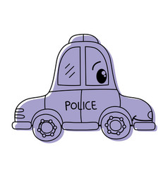 Color kawaii happy police car transport vector