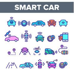 Color smart car elements icons set vector