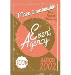 Color vintage event agency banner vector