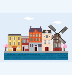 colorful houses with windmill blossoming trees vector image