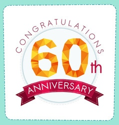 colorful polygonal anniversary logo 3 060 vector image