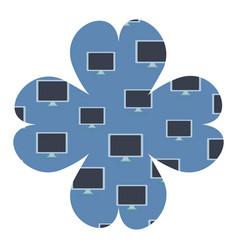 computer screen flower frame vector image