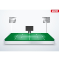 Concept of miniature tabletop Tennis court vector