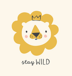 Cute lion with crown hand drawn vector