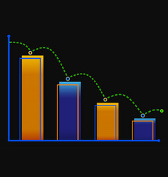 Decreasing bar graph with green arrow isometric vector