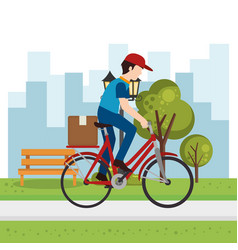 Delivery worker in bicycle character vector