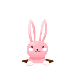 easter bunny hide in hole vector image