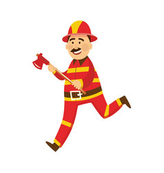 fireman in protection uniform with axe vector image