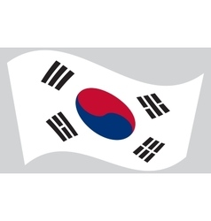 Flag of South Korea waving on gray background vector image