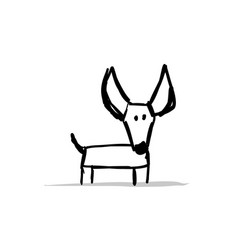 Funny small dog sketch for your design vector