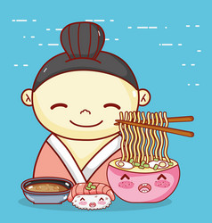 Geisha with noodles soup sushiand sauce food vector