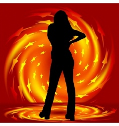 girl and fire twirl vector image