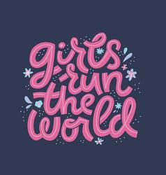 girl power cartoon lettering vector image