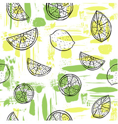 Hand drawn black line art citrus fruit on colorful vector