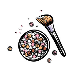 Hand drawn blush make up object on white vector