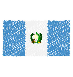 hand drawn national flag of guatemala isolated on vector image