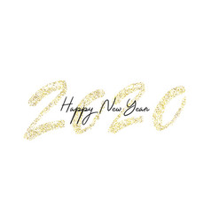 happy new year 2020 with golden glitter vector image