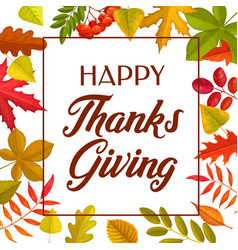 happy thanks giving greeting card autumn leaves vector image