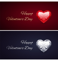 Happy Valentines Day Cards with Gems vector