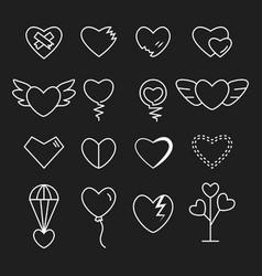 heart outline white color set vector image