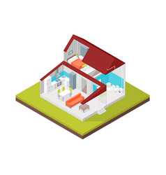 home in section concept 3d isometric view vector image