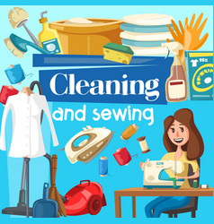 house cleaning and sewing service vector image