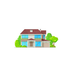 house home villa or mansion bungalow facade icon vector image