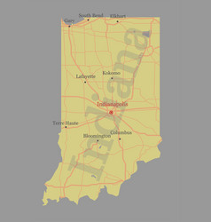 indiana accurate exact detailed state map vector image